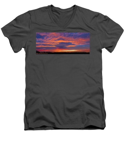 Pana 53rd Ave Sunrise Men's V-Neck T-Shirt by Kimo Fernandez
