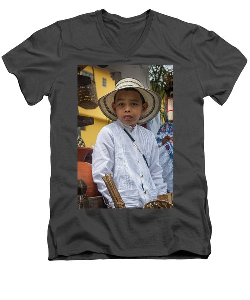 Panamanian Boy On Float In Parade Men's V-Neck T-Shirt