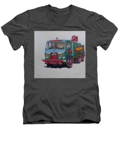 Men's V-Neck T-Shirt featuring the painting Pannell Leyland Wrecker. by Mike Jeffries