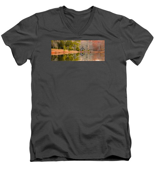 Panorama Of Cabin By The Lake Men's V-Neck T-Shirt by Shelby  Young
