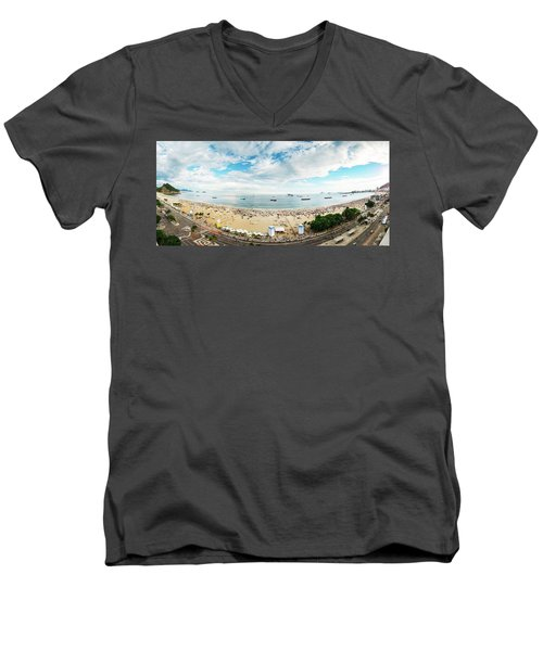 Panorama Of Copacabana, Rio De Janeiro, Brazil  Men's V-Neck T-Shirt