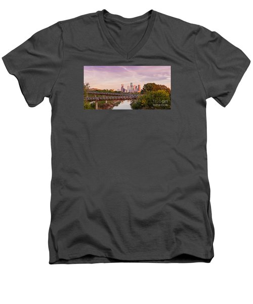 Panorama Of Downtown Houston Skyline From Studemont Drive - Buffalo Bayou Park Houston Texas Men's V-Neck T-Shirt