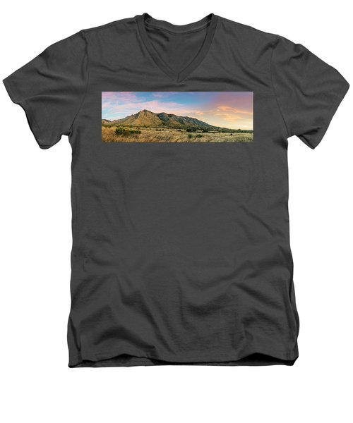 Panorama Of Hunter Peak And Frijole Ridge At Guadalupe Mountains National Park - West Texas Men's V-Neck T-Shirt