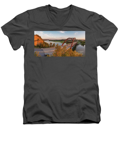 Panorama Of Lake Austin And Texas Hill Country From Highway 360 Overlook - Austin Texas Men's V-Neck T-Shirt