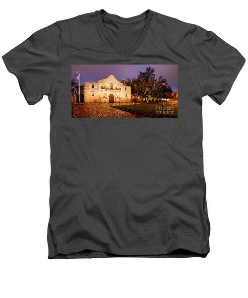 Panorama Of The Alamo In San Antonio At Dawn - San Antonio Texas Men's V-Neck T-Shirt