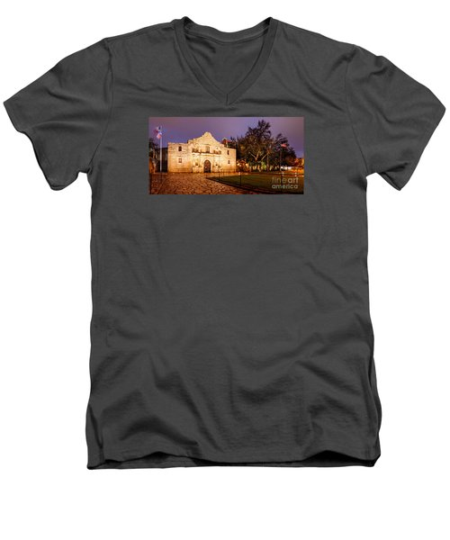 Panorama Of The Alamo In San Antonio At Dawn - San Antonio Texas Men's V-Neck T-Shirt