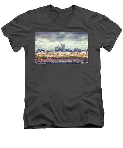 panorama of the Hague modern city Men's V-Neck T-Shirt