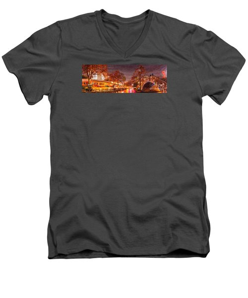 Panorama Of The San Antonio Riverwalk During Christmas - San Antonio Bexar County Texas Men's V-Neck T-Shirt