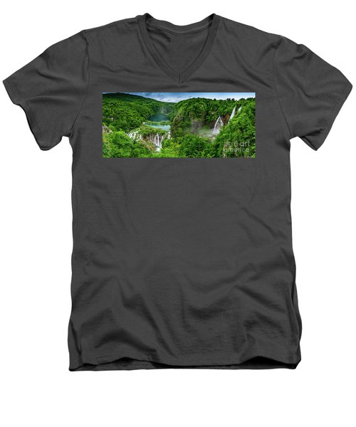 Panorama Of Turquoise Lakes And Waterfalls - A Dramatic View, Plitivice Lakes National Park Croatia Men's V-Neck T-Shirt