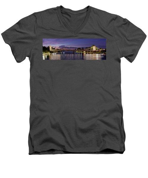 Panorama Of Waco Suspension Bridge Over The Brazos River At Twilight - Waco Central Texas Men's V-Neck T-Shirt