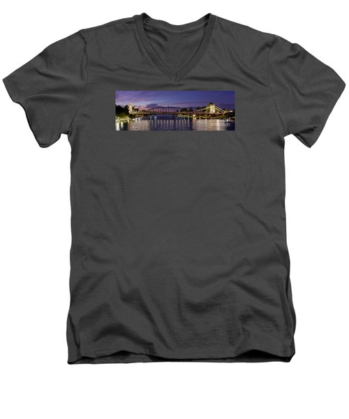 Panorama Of Waco Suspension Bridge Over The Brazos River At Twilight - Waco Central Texas Men's V-Neck T-Shirt