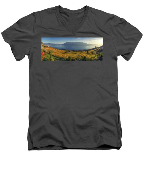 Panorama On Lavaux Region, Vaud, Switzerland Men's V-Neck T-Shirt