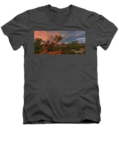 Men's V-Neck T-Shirt featuring the photograph Panorama Storm Back Of Zion Near Hurricane Utah by Dave Welling