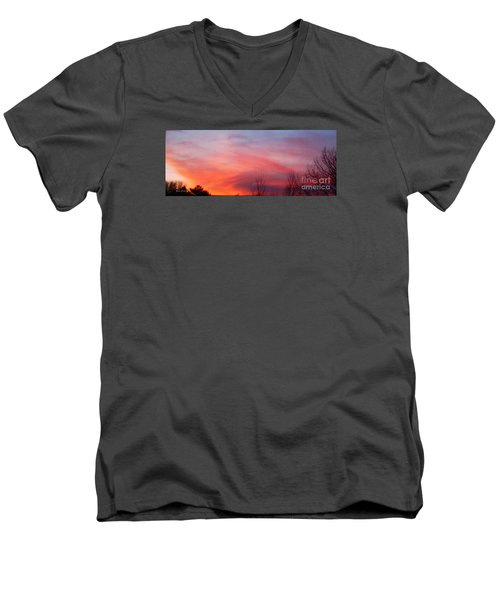 Panorama Sunset  Men's V-Neck T-Shirt by Yumi Johnson