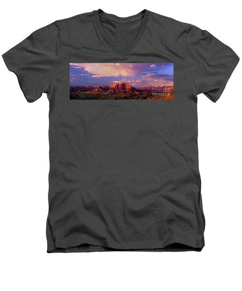 Panorama West Temple At Sunset Zion Natonal Park Men's V-Neck T-Shirt