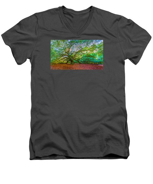 Panoramic Angel Oak Tree Charleston Sc Men's V-Neck T-Shirt by John McGraw