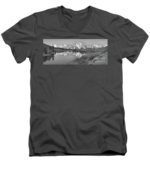 Panoramic Reflections At Oxbow Black And White Men's V-Neck T-Shirt by Adam Jewell