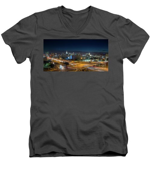 Panoramic View Of Busy Austin Texas Downtown Men's V-Neck T-Shirt
