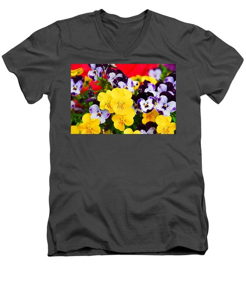 Pansies And Red Cart Men's V-Neck T-Shirt