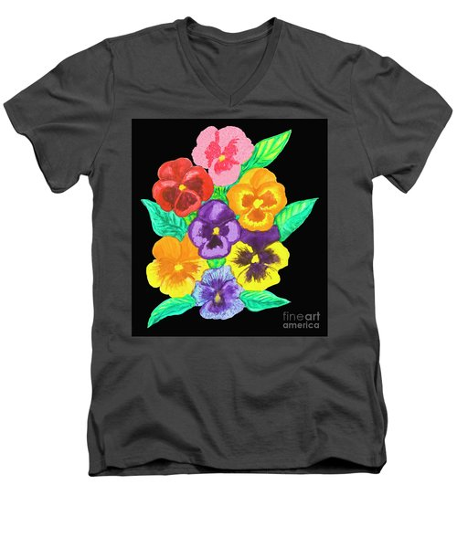 Pansies On Black Men's V-Neck T-Shirt by Irina Afonskaya