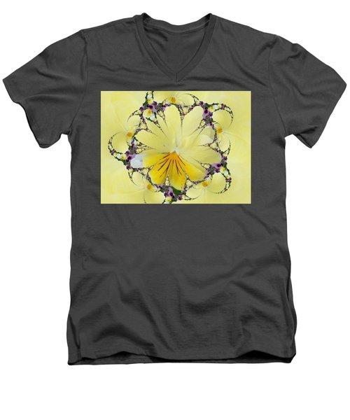 Pansy Swirls Men's V-Neck T-Shirt