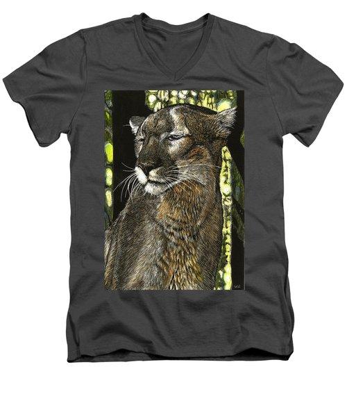 Panther Contemplates Men's V-Neck T-Shirt