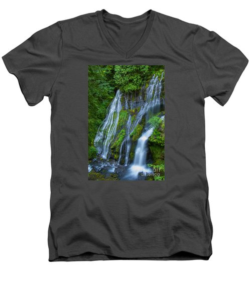 Panther Creek Falls Summer Waterfall 1 Men's V-Neck T-Shirt