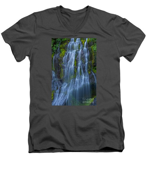 Panther Creek Falls Summer Waterfall -close 2 Men's V-Neck T-Shirt