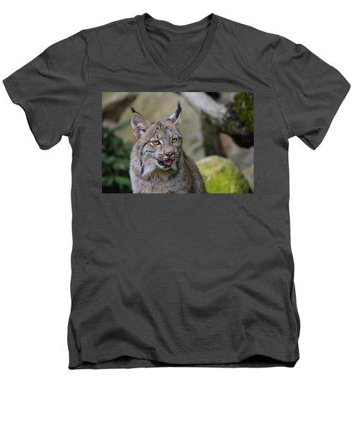 Panting Lynx Men's V-Neck T-Shirt