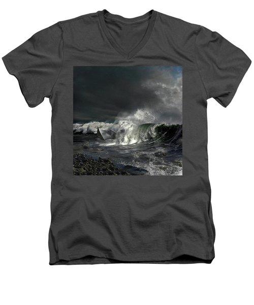 Paper Boat Men's V-Neck T-Shirt by Evgeniy Lankin