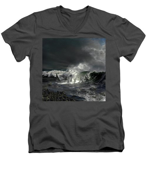 Men's V-Neck T-Shirt featuring the digital art Paper Boat by Evgeniy Lankin