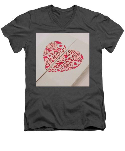 Paper Cut Heart Men's V-Neck T-Shirt by Helen Northcott