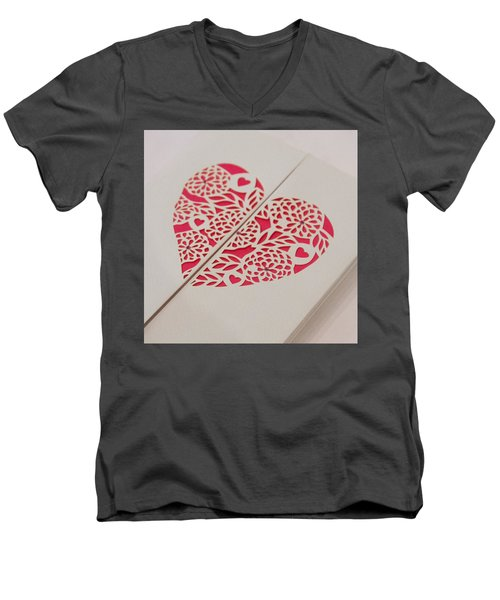 Paper Cut Heart Men's V-Neck T-Shirt