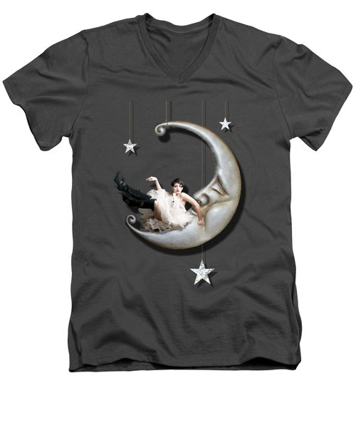 Men's V-Neck T-Shirt featuring the digital art Paper Moon by Linda Lees