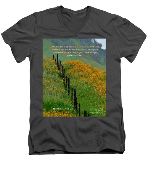 Men's V-Neck T-Shirt featuring the photograph Parable Of The Mustard Seed by Debby Pueschel
