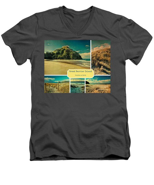 Paradise At The Barrier Men's V-Neck T-Shirt by Karen Lewis