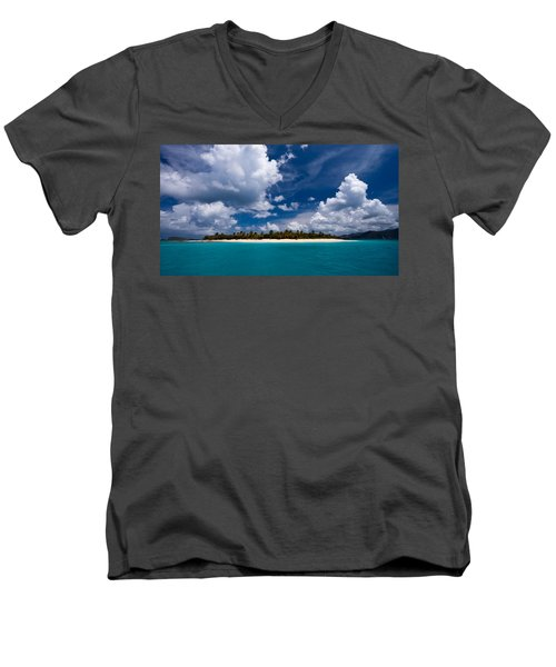 Paradise Is Sandy Cay Men's V-Neck T-Shirt by Adam Romanowicz