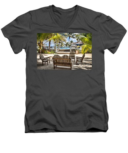 Paradise Men's V-Neck T-Shirt by Lawrence Burry