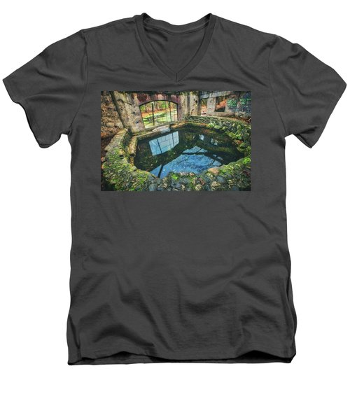 Men's V-Neck T-Shirt featuring the photograph Paradise Springs- Spring House - Kettle Moraine State Forest by Jennifer Rondinelli Reilly - Fine Art Photography