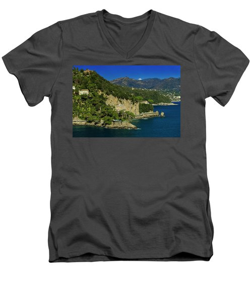Paraggi Bay Castle And Liguria Mountains Portofino Park  Men's V-Neck T-Shirt