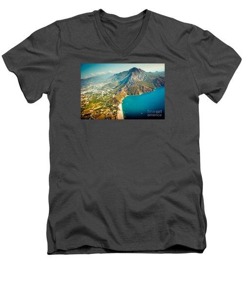 Paragliding Fly Above Laguna Artmif.lv Men's V-Neck T-Shirt