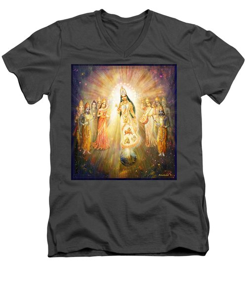 Men's V-Neck T-Shirt featuring the mixed media Parashakti Devi - The Great Goddess In Space by Ananda Vdovic