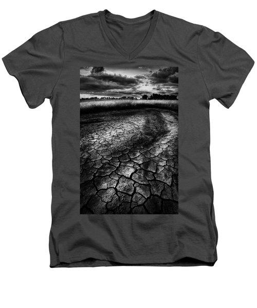 Men's V-Neck T-Shirt featuring the photograph Parched Prairie by Dan Jurak