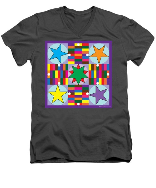 Parcheesi Board Men's V-Neck T-Shirt by Eric Edelman