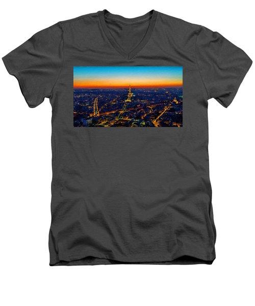 Paris After Sunset Men's V-Neck T-Shirt