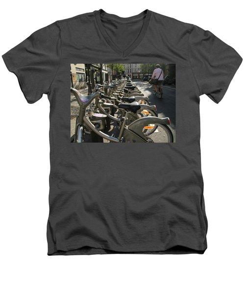 Paris By Bike Men's V-Neck T-Shirt by Yoel Koskas