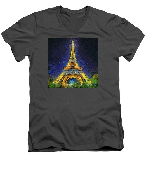 Men's V-Neck T-Shirt featuring the painting Paris By Night by Dragica  Micki Fortuna