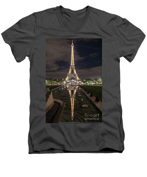 Paris Eiffel Tower Dazzling At Night Men's V-Neck T-Shirt by Mike Reid