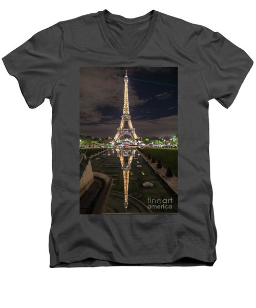 Paris Eiffel Tower Dazzling At Night Men's V-Neck T-Shirt