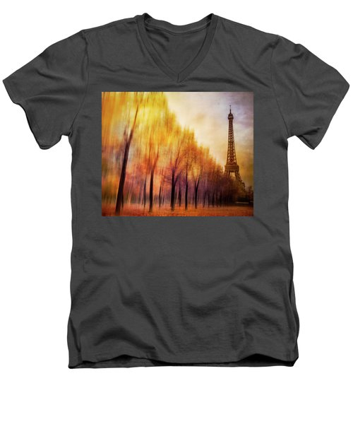 Paris In Autumn Men's V-Neck T-Shirt by Marty Garland
